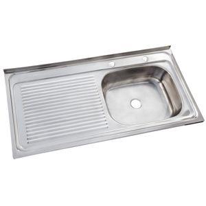 Lavaplatos Sobreponer 1000 x 500 mm Izquierdo c/Rebalse Inox
