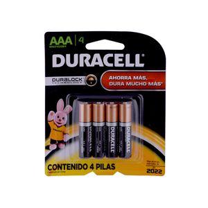 Paquete de 4 pilas alcalinas AAA Duracell